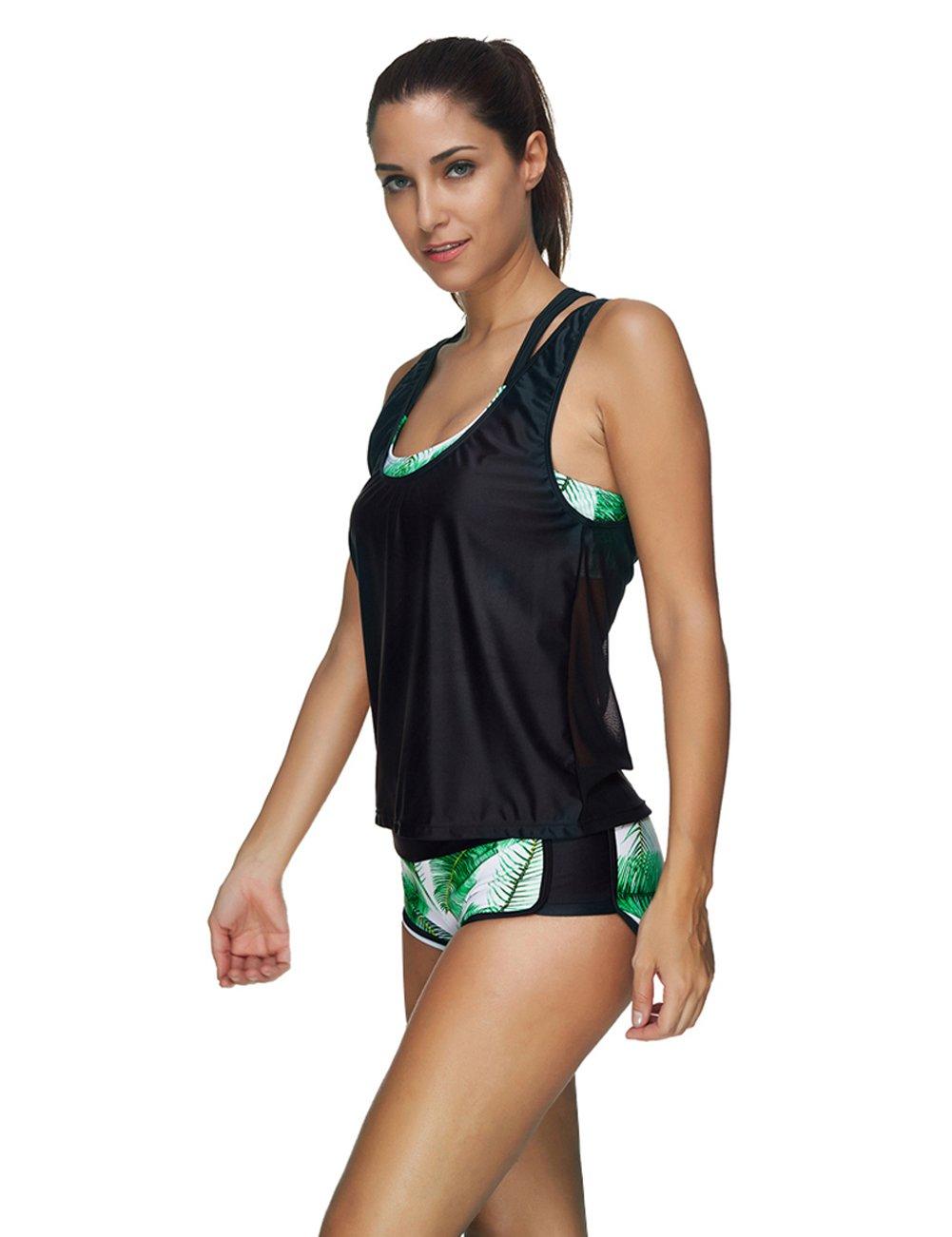 aebf4d1f47780 JOYMODE Womens 3 Pieces Athletic Swimwear Sports Swimsuit Set with Boyshort