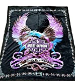 Harley Davidson Blanket NEW Mink Queen Size Double Side Plush Reversible Purple Eagle & Flames