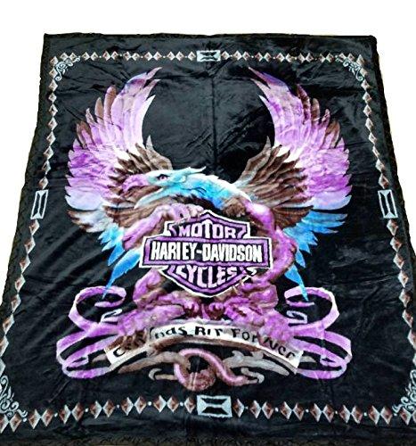 - Harley Davidson Blanket NEW Mink Queen Size Double Side Plush Reversible Purple Eagle & Flames