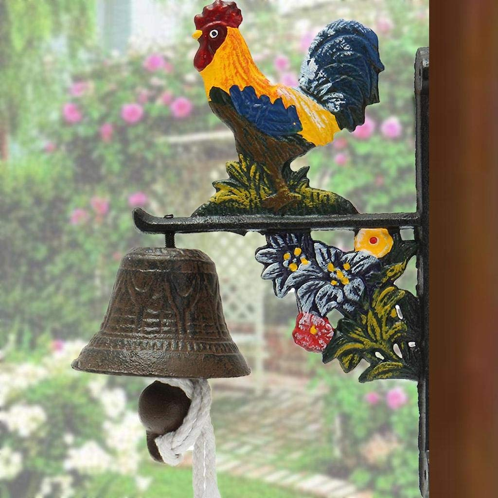 MTOFAGF Vintage Antique Wall Mounted Cast Iron Rooster Door Wall Bell Chime Home Garden Decor Gift MTOFAGF Brings You The Best