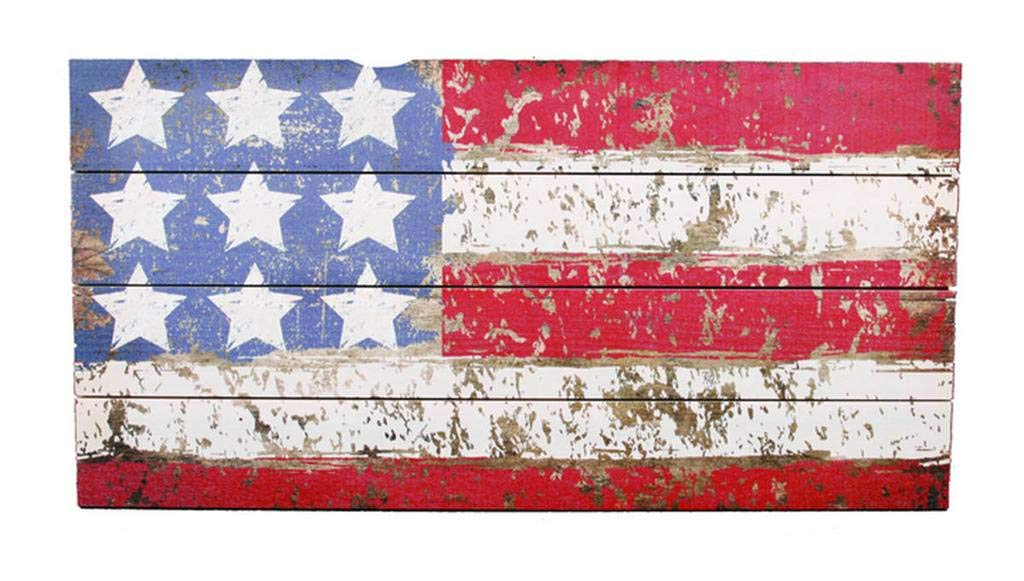 Timeless by Design Rustic American Flag on Wooden Crate Sign, 24 x 12 Inches