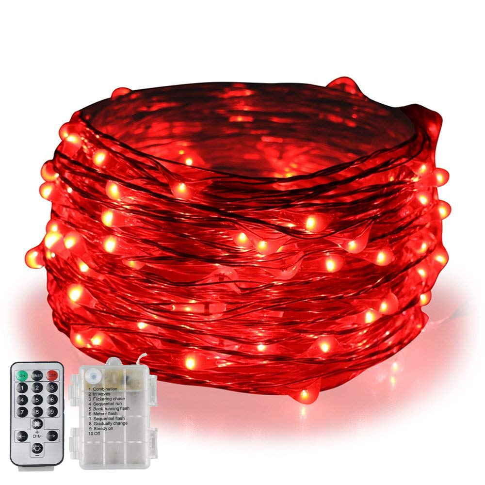 BOLWEO 5M/16.4Ft 66LEDs Dimmable Battery Powered Christmas String Lights,Waterproof Copper Wire Fairy Lights,Remote/Timer/9 Lighting Modes,Christmas Tree Home Party Wedding Decoration,Red