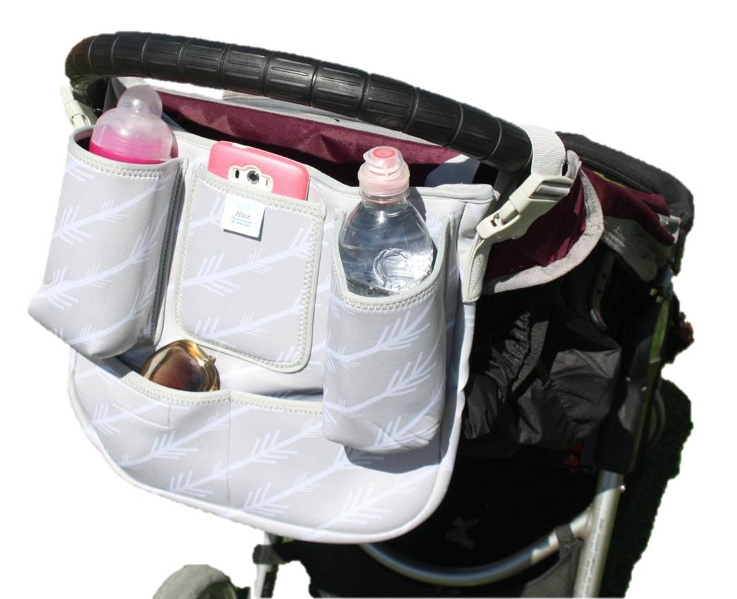 Premium Baby Parent Console By Raz - Universal Detachable Zippered Essentials Bag - Durable Neoprene Construction - 8 Practical  Pockets - Easy Clip Buckle Design - Fits Almost All Strollers by Raz (Image #2)