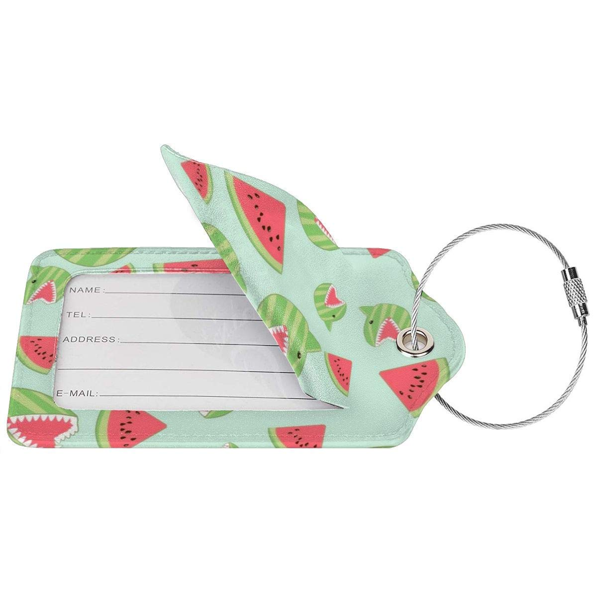 Shark Watermelon Funny Luggage Tag Label Travel Bag Label With Privacy Cover Luggage Tag Leather Personalized Suitcase Tag Travel Accessories