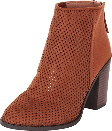 Cambridge Select Women's Pointed Toe Perforated Laser Cutout Mesh Stacked High Heel Ankle Bootie