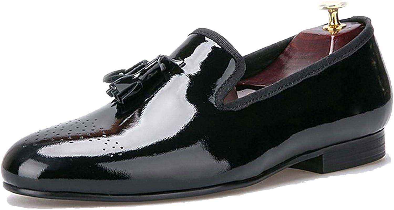 Mens Black Patent Leather Gold Tip Tassel Slip On Tuxedo Loafer Dress Shoe