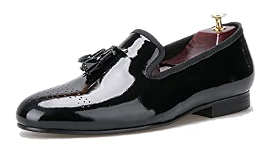 2d029bfd1f5 Merlutti Black Tassel Patent Leather Loafer Shoes Men s Formal Event  Footwear Tuxedo Slip-on (