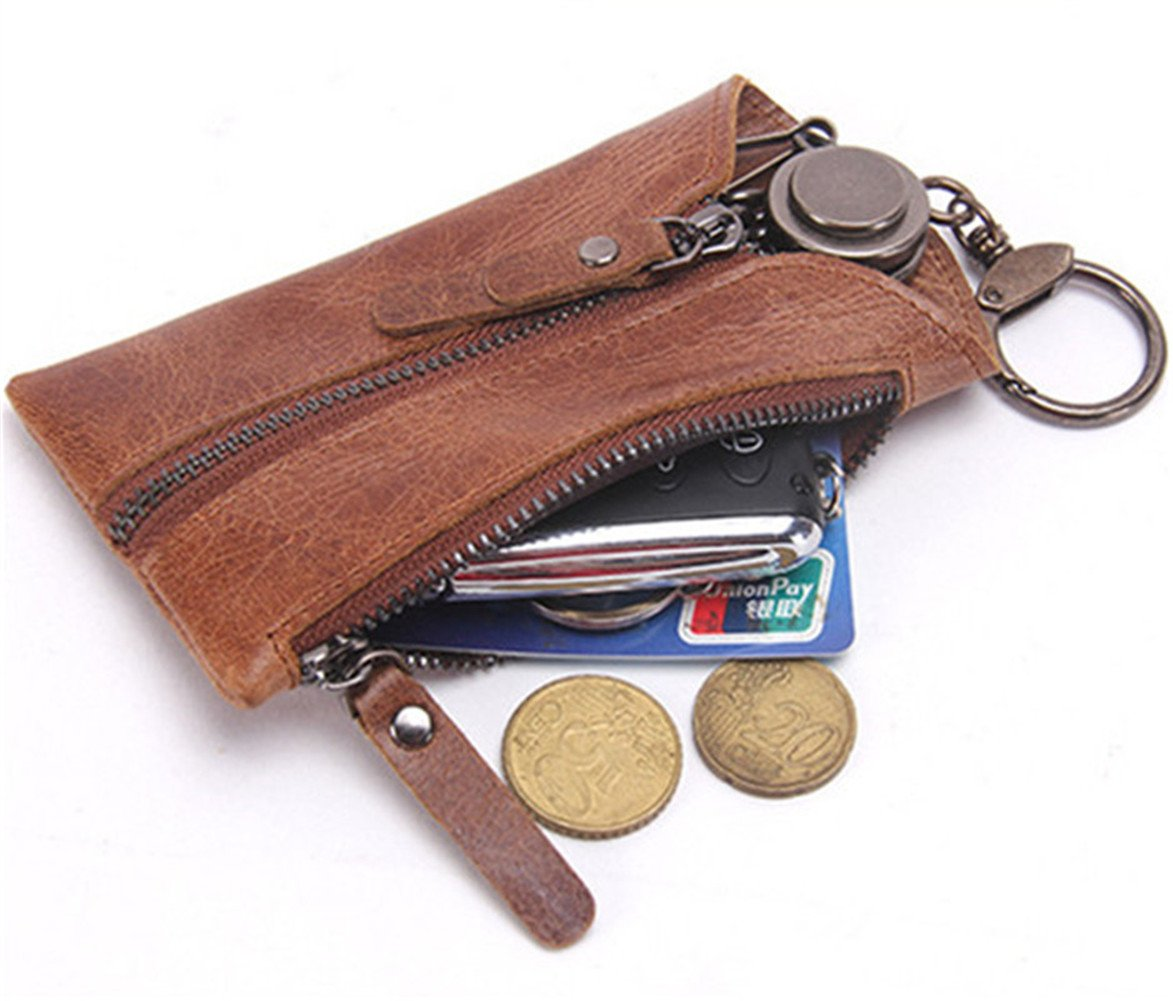 Genuine Leather Car Key Case Chain Holder Dual-use Zipper Key Bag Wallet Gift Brown