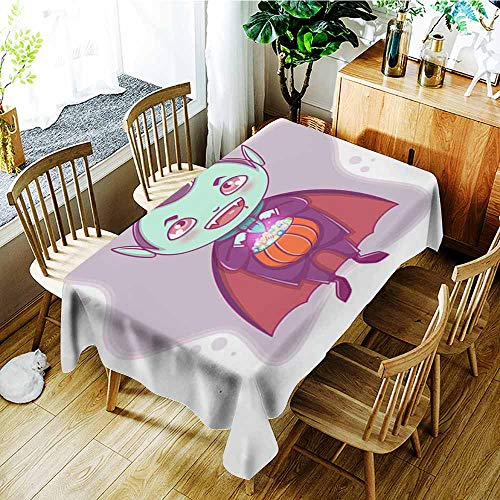 AGONIU Rectangular Tablecloth,Halloween Little Vampire Dracula Boy Kid with Smiling face in Halloween Costume with Pumpkin in his Hands,Party Decorations Table Cover Cloth,W50x80L]()