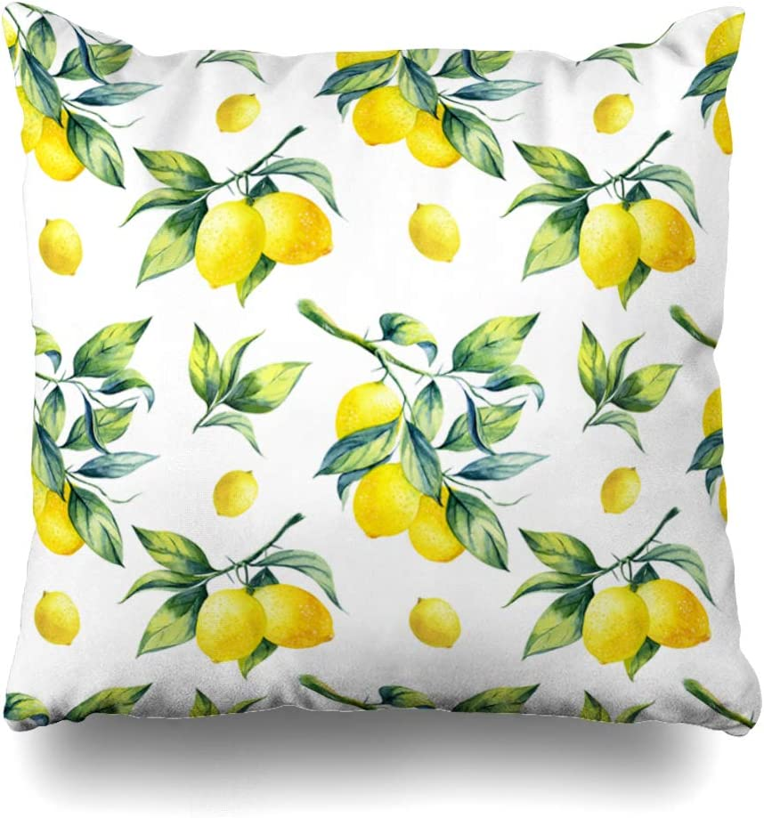 """Ahawoso Decorative Throw Pillow Cover Green Watercolor Leaf Lemon Pattern On Food Hanging Drink Fruit Branch Tree Agriculture Botanical Zippered Design 16""""x16"""" Square Home Decor Cushion Pillowcase"""