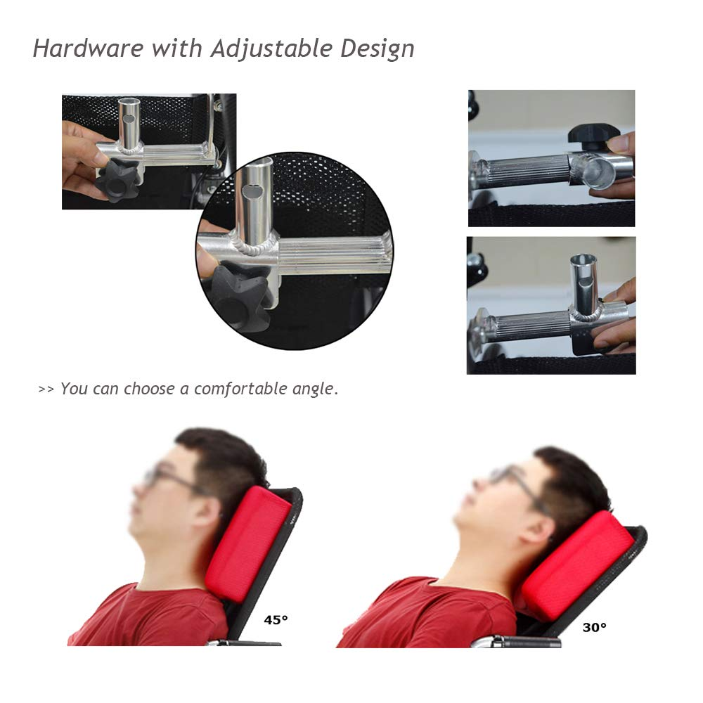 Amazon.com: Wheelchair Headrest Neck Support Head Adjustable Padding for Adults Portable Universal Wheelchair Accessories for 16
