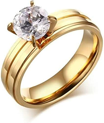 MoAndy Anniversary Ring Stainless Steel Ring Female Wedding Ring Round Round