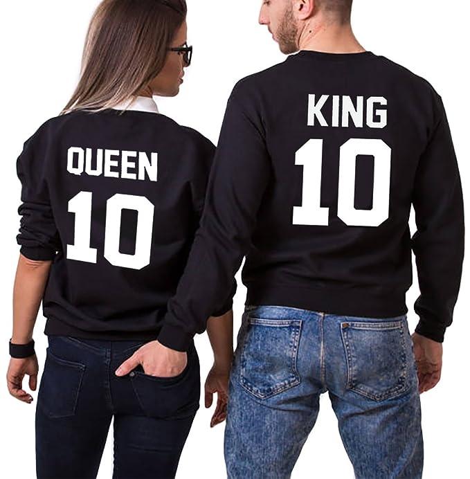 JWBBU Sudaderas Par de Conjunto para Mujeres y Hombres Suéter Impresión King Queen 10 sin Capucha