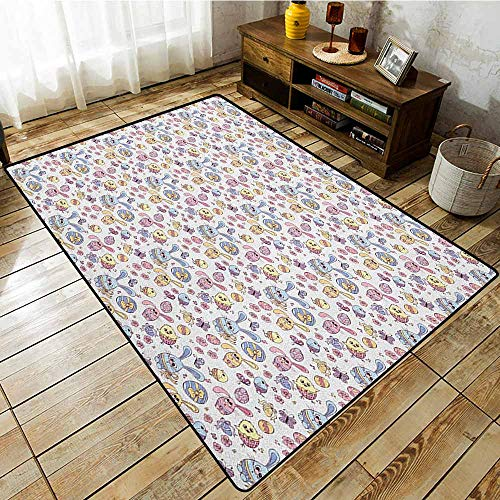 Rectangular Rug,Easter,Cheerful Kids Pattern with Funny Bunny and Chicken Characters Flowers Butterflies,Children Crawling Bedroom Rug,3'11