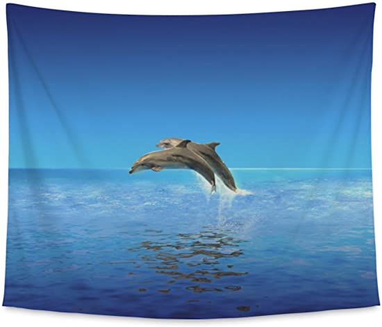 Gear New Wall Tapestry for Bedroom Hanging Art Decor College Dorm Bohemian, Dolphins, Large, 104 inches Wide by 88 inches Tall