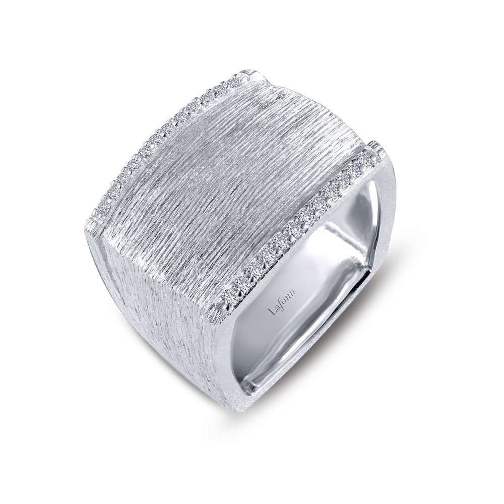 Lafonn Classic Sterling Silver Platinum Plated Lassire Simulated Diamond Ring (0.24 CTTW)