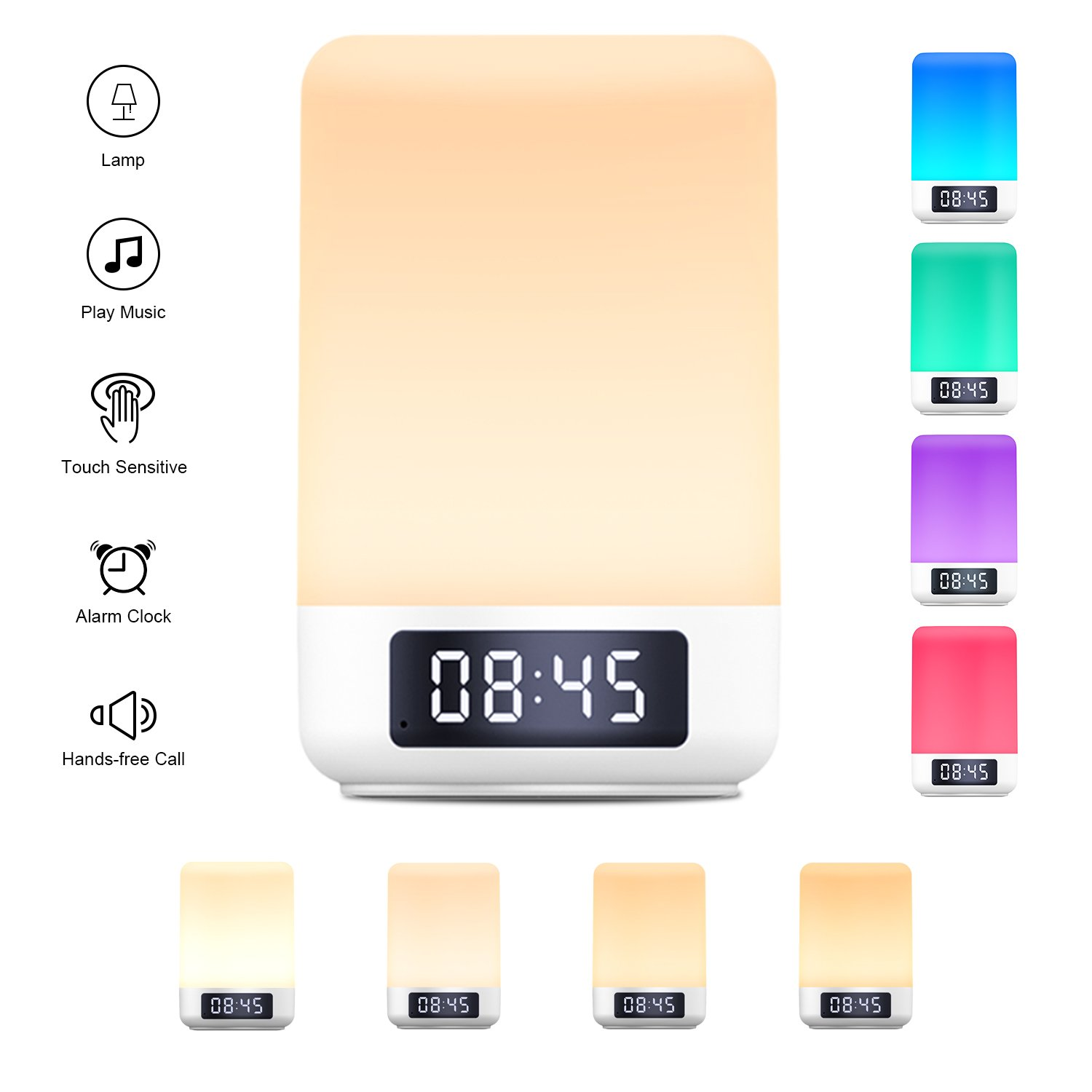 Touch Control Beside Lamp with Wireless Bluetooth Speakers, Yuanguo Wake Up Light Alarm Clock Digital Table Lamp with Night Lights Mood Lights Dimmable Color Changing LED Lights,Support TF Card AUX-In Handsfree Calls for Bedroom Reading Camping bedside li