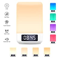 Touch Control Beside Lamp with Wireless Bluetooth Speakers, Yuanguo Wake Up Light Alarm Clock Digital Table Lamp with Night Lights Mood Lights Dimmable Color Changing LED Lights,Support TF Card AUX-In Handsfree Calls for Bedroom Reading Camping