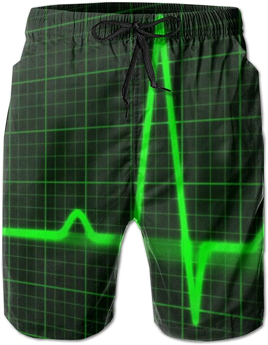 YongColer Casual Men Beach Shorts Swim Trunks Quick Dry Half Pants Green Heart Cardiogram EKG