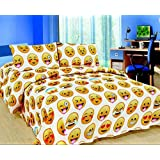 "EMOJI EMOTION ""SMILEY FACES"" SIZE DOUBLE DUVET QUILT DUVET COVER BEDDING BED SET WITH PAIR OF PILLOWCASES COLORS WHITE YELLOW CHOCOLATE DOUBLE"