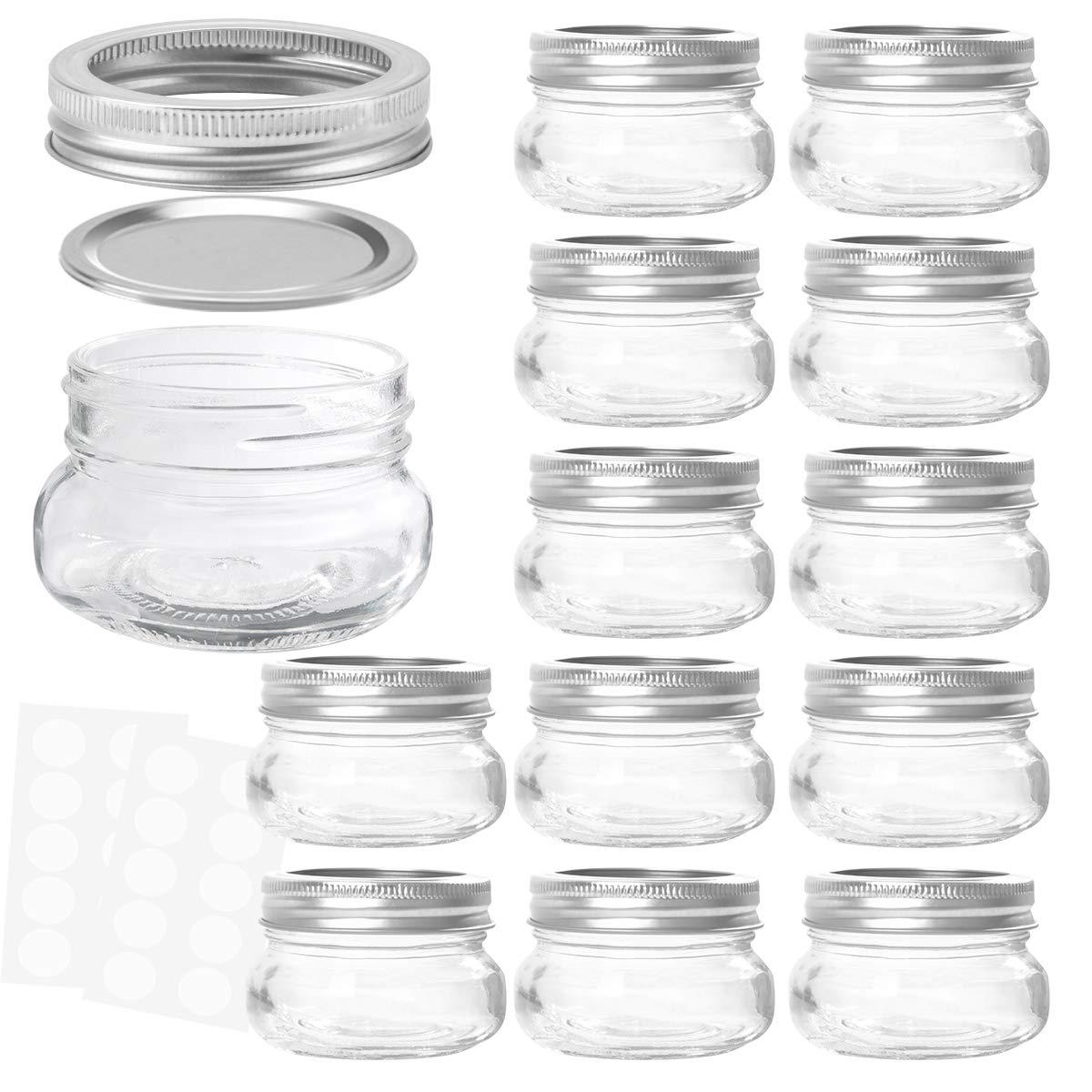KAMOTA Mason Jars 4OZ With Regular Lids and Bands, Ideal for Jam, Honey, Wedding Favors, Shower Favors, Baby Foods, DIY Magnetic Spice Jars, 12 PACK, 20 Whiteboard Labels Included