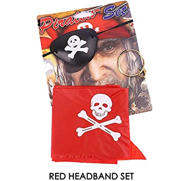Pirate Black White Bandanna Skull Cross bone New Fancy Dress Costume Outfit