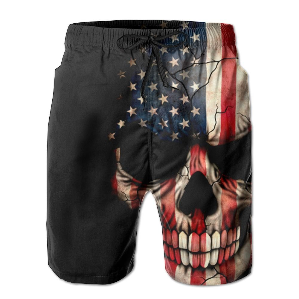 f87ee68307 Amazon.com: Inlenged Firefighter Sticker Thin Red Line Skull Men's Casual  Shorts Swim Trunks Fit Performance Quick Dry Boardshorts: Clothing