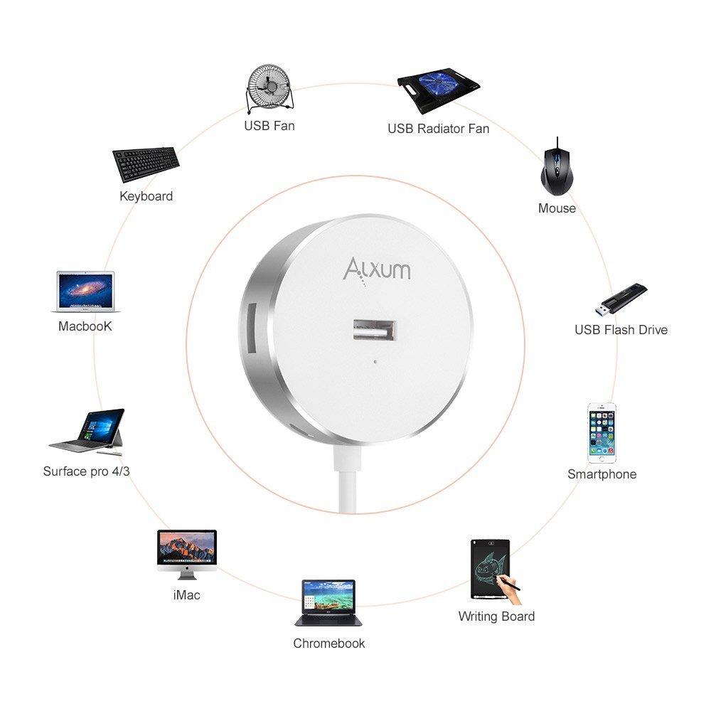 White Surface Book MacBook Pro//Air Aluminium Chrombook Alxum USB 2.0 Hub 4-Port USB Data Hubs Splitter with Built-in 60CM Long Cable for iMac Mac Mini Ultra Slim Microsoft Surface 4//3