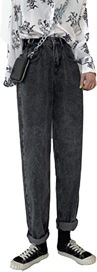 YiTongジーンズ レディース 裏起毛 ストレート 黒 ハロンパンツ ジーパン ゆったり ファッション 着痩せ デニムパンツ ロング丈 無地 秋 冬 ボトムス ハイウエスト カジュアル