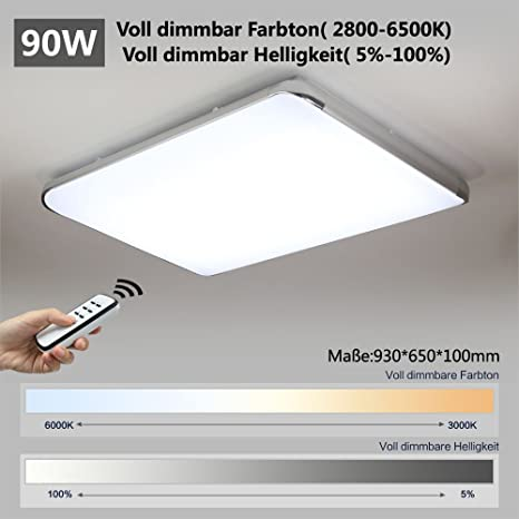 Natsen® LED Ceiling/Wall Light Deckenleuchte silver I505Y 90 W/90 W ...