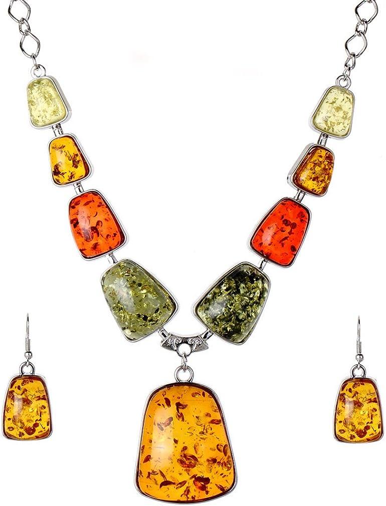 Yazilind mallas ámbar plata mujeres chapado collar collar conjuntos pendientes gancho joyas
