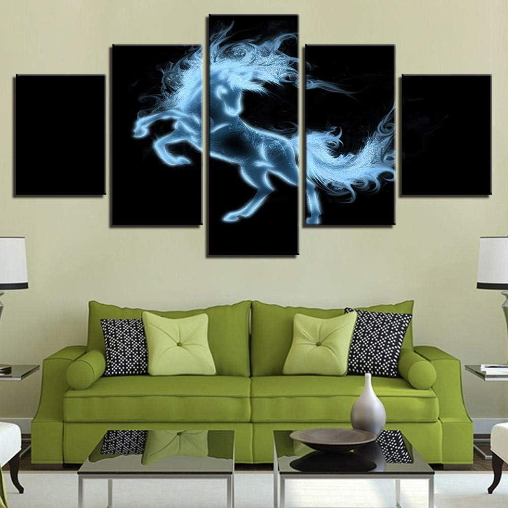 Cuadro moderno abstracto impreso 5 piezas de animales de imitación de caballo polaco para decoración del hogar salón pared pared modular póster Kdw
