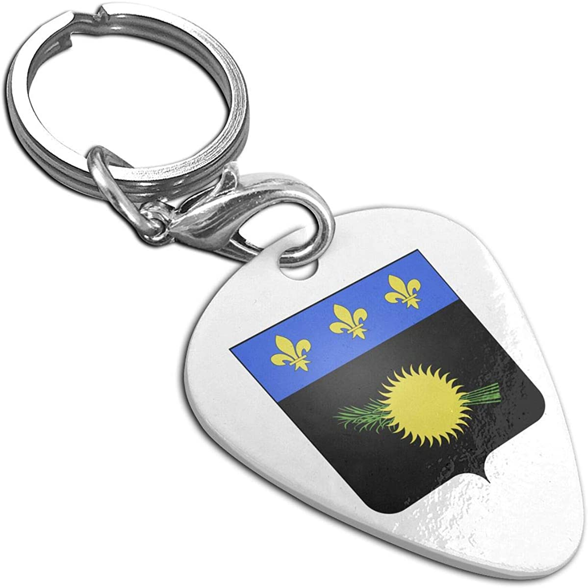 National Emblem Of Guadeloupe Guitar Pick Pendant Necklace Stainless Steel Pet Card Keychain