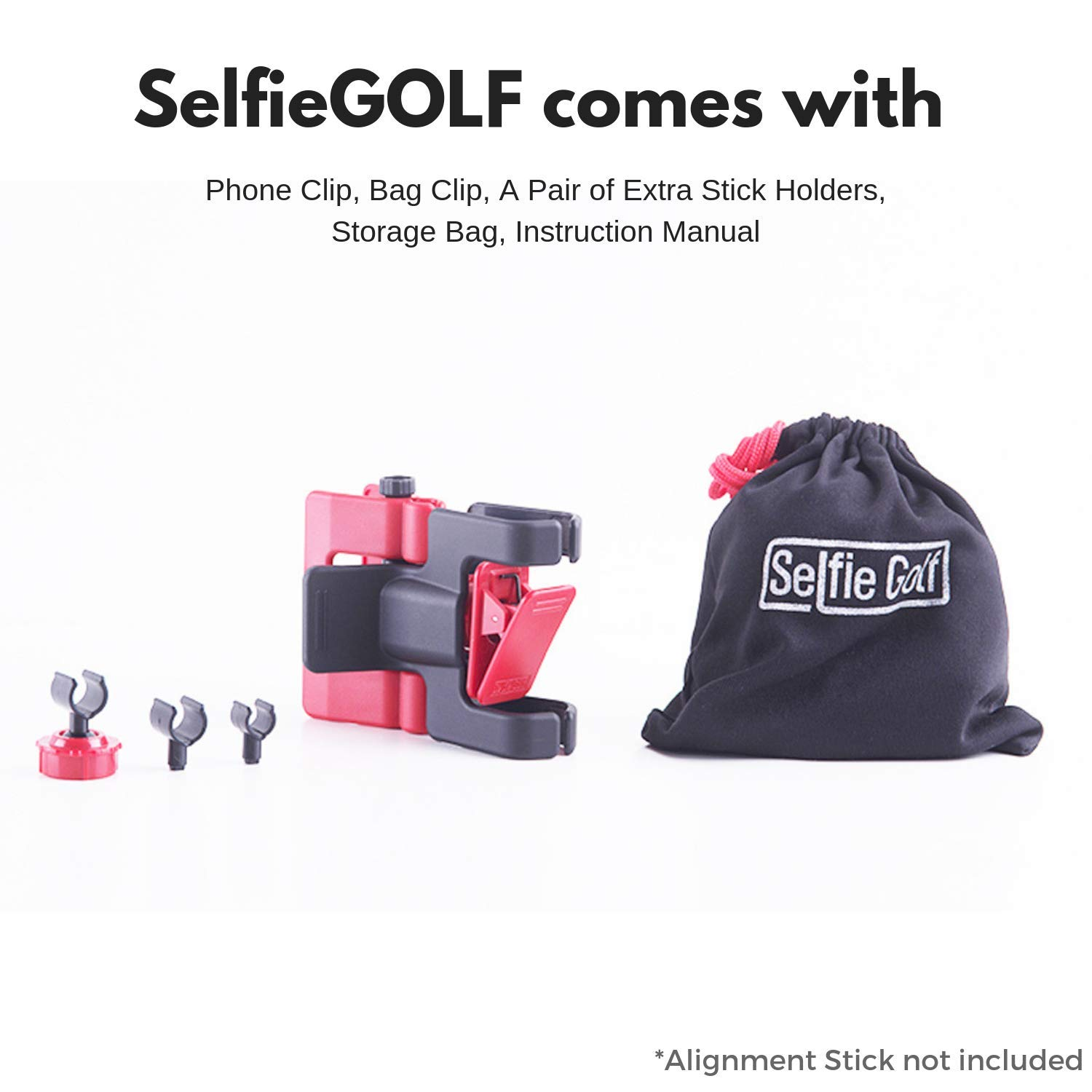 Record Golf Swing - Cell Phone Clip Holder and Training Aid by SelfieGOLF TM - Golf Accessories | The Winner of The PGA Best of 2017 | Compatible with Any Smart Phone (Red/Black) by Selfie Golf (Image #7)