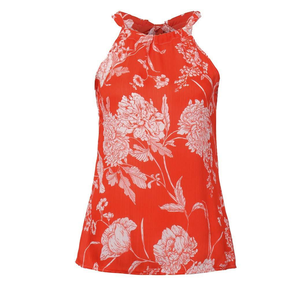 OTINICE Women Sleeveless Halter Strappy Floral Dress Summer Casual Mini Dress Sundress (XL, Z-Orange) by OTINICE (Image #2)