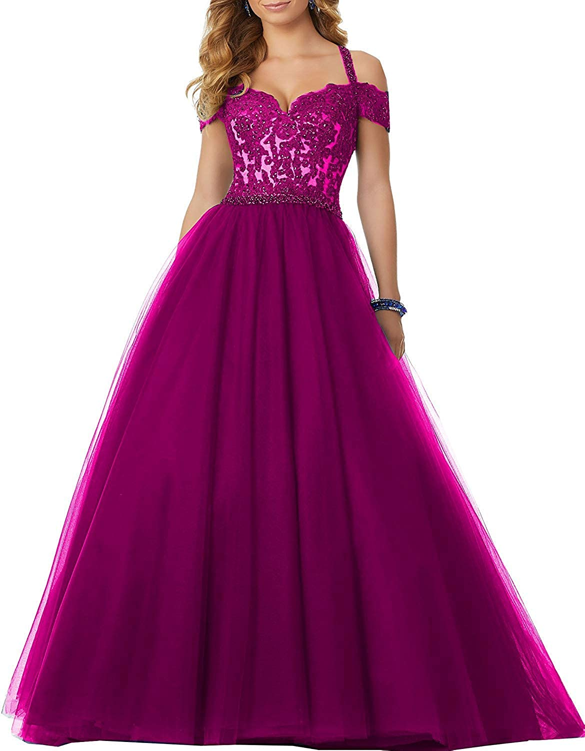 Fuchsia Sophie Women's Long Sweetheart Tulle Quinceanera Dresses 2019 Beaded Prom Ball Gowns Princess S258