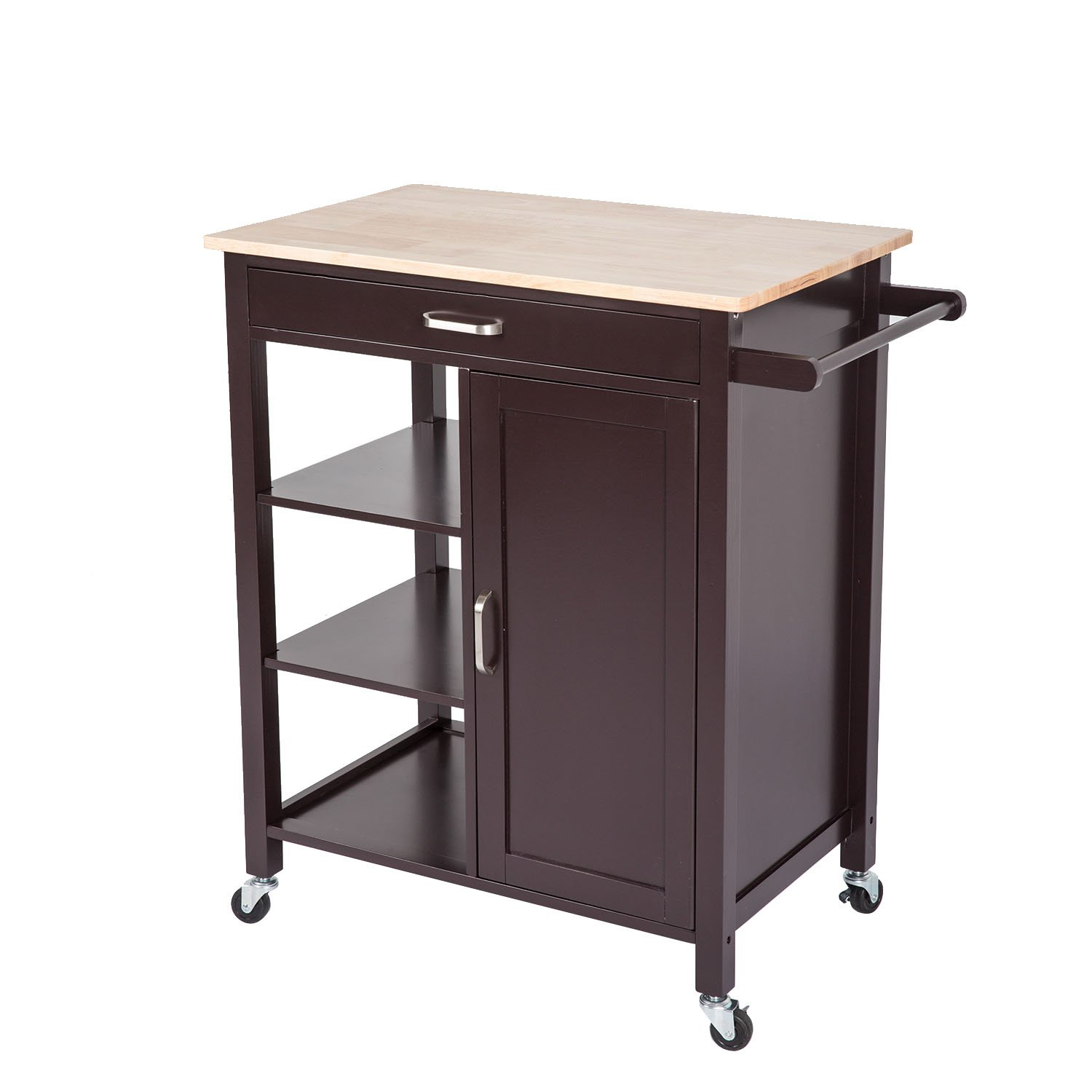 Kinsuite Kitchen Island Trolley Cart with Wheels 4-Tier Utility Wood Rolling Kitchen Storage Cabinet with Drawer Towel Bar Shelves Wooden top Table Dark Brown by Kinsuite