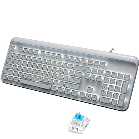 Guanwen Teclado a contraluz Blanco mecánico del Chocolate Teclado, Azul Interruptor Multimedias Ergonómico USB Teclado