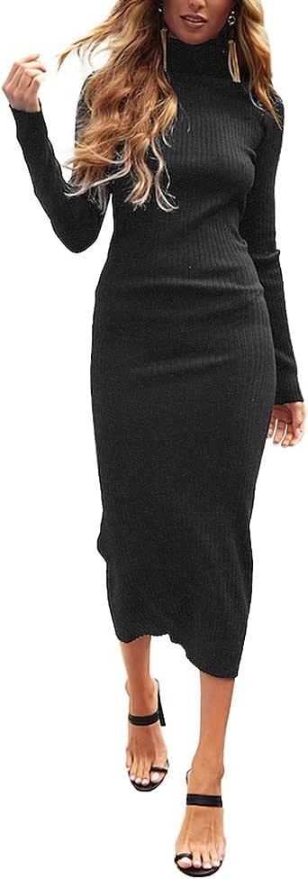 Auxo Vestido a Punto Cuello Alto Suéter Larga Elegante Clásico para Mujer Jerséy para Otoño Invierno Fiesta Cóctel Noche C-Gris Oscuro S
