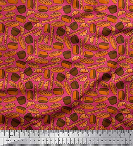 Soimoi Pink Japan Crepe Satin Fabric Croissant & Baguette Food Printed Fabric 1 Yard 42 Inch Wide