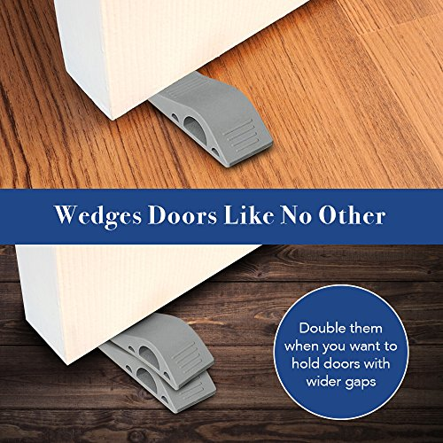 Door stopper, Strong and Flexible Premium Grey Rubber Door Stop Wedge Non-Toxic Odorless Doorstops (5 Pack)
