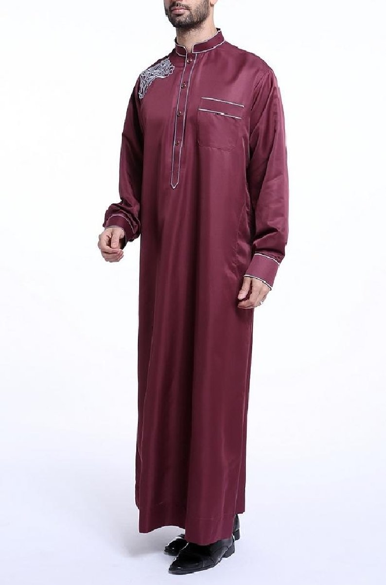 Coolred Mens Oversized Embroidery Long Sleeve Saudi Arabia Muslim Thobe Wine Red XS by Coolred-Men (Image #2)