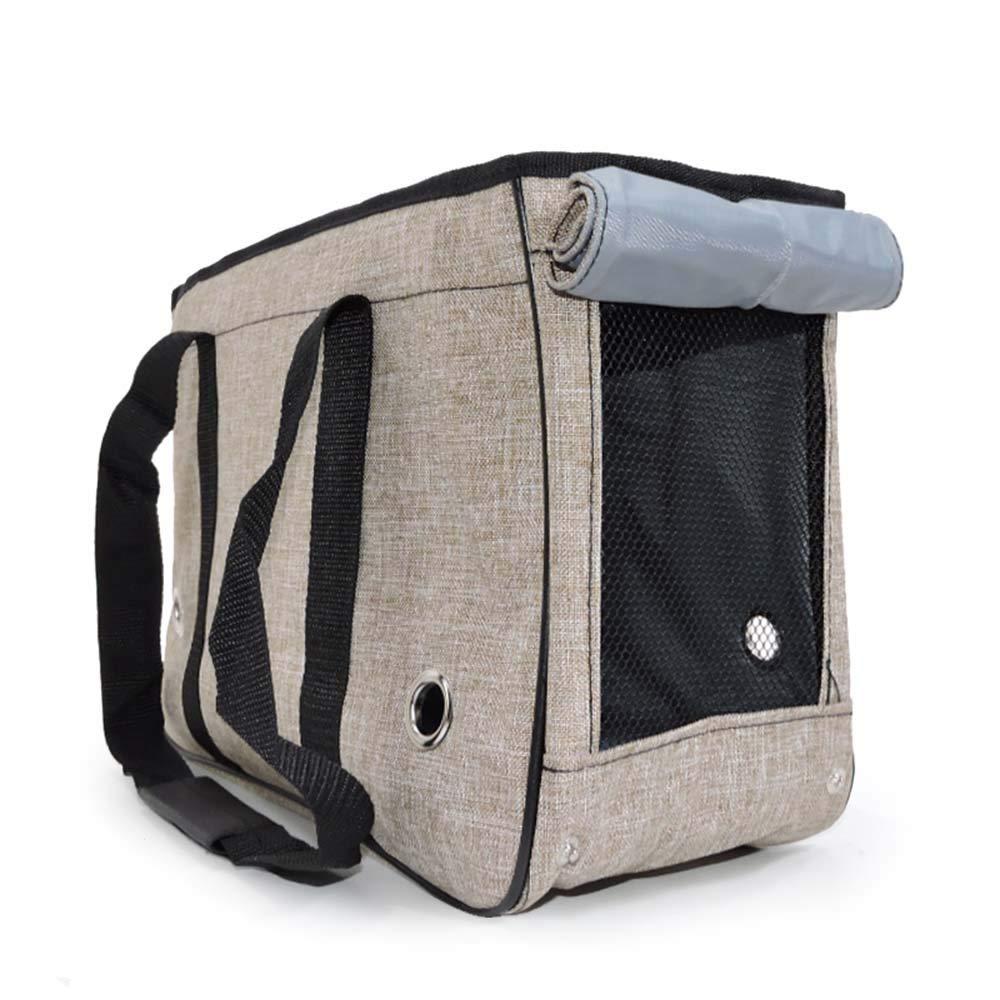 Beige SPet Bag Out Portable Dog Backpack Handbag Out of The Cat Cage Travel Bag Pet Supplies (color   orange, Size   L)
