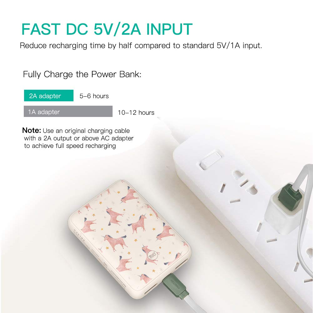 Cute Portable Charger 10000mAh,Sethruki Unicorn Pocket-Size Fast Charging Dual USB Mini Power Bank External Battery Pack for iPhone X 8 7 Plus and More,Gift for Girl Women Kid.