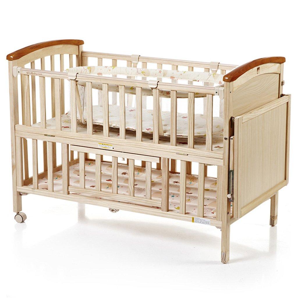 TYJ Kinderbetten Kinderbett Multifunktions Kinderbett Massivholz Umweltschutz Einfache Mode Geschmacklos Keine Farbe Sicherheit Baby Bett Mit Roller Faltbar