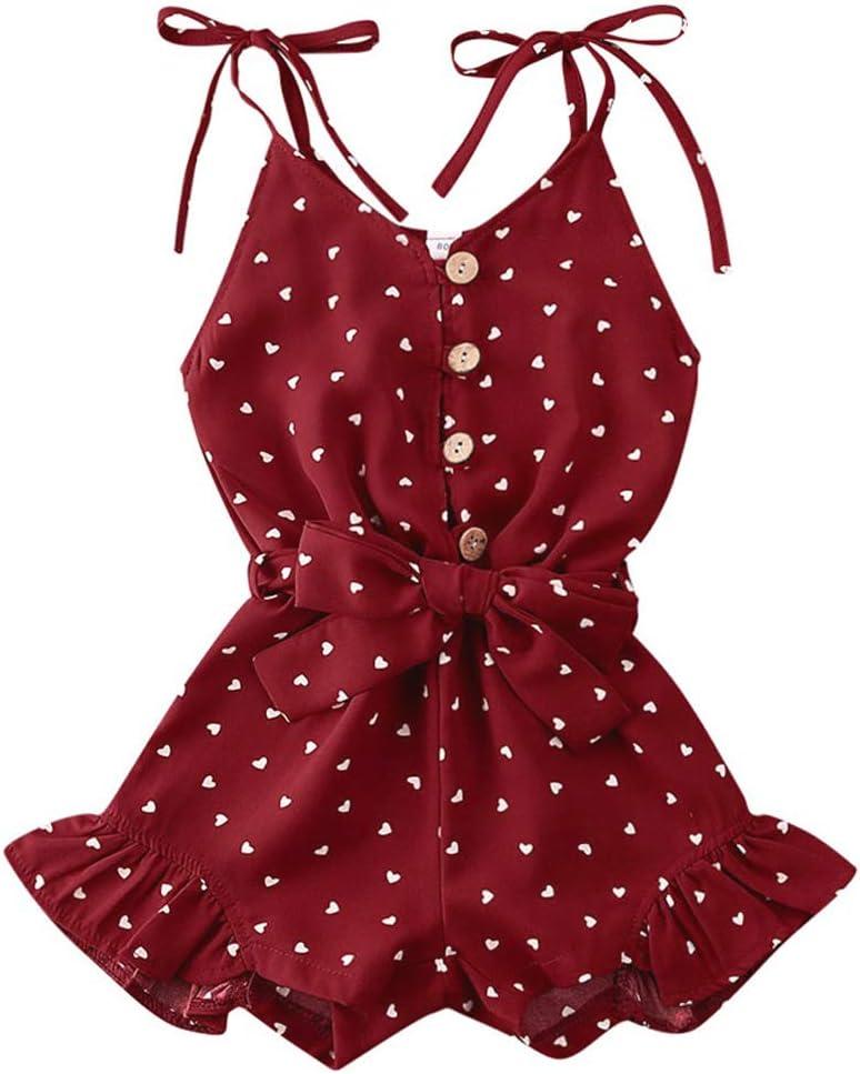 Toddler Kid Baby Summer Outfit Strap Romper Little Girl Heart Pattern Jumpsuit Halter Short Bodysuit Overalls Clothes