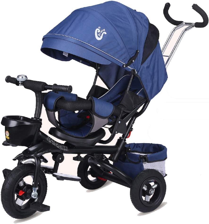 HBSC Triciclo para niños Baby Trike Triciclo Respaldo Ajustable, el bebé Puede Sentarse o recostarse Plano, cómodo y Duradero, de 1 a 6 años 1bicycle Regalo Blue3