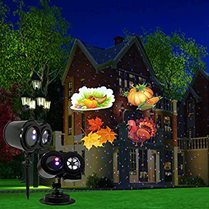 Remote Control Christmas Projector Lights Outdoor Moving Projector Automatically Changing LED Landscape Light Starry Lights Garden Patio Yard Decor Xmas Party-UK Plug (SE508) Topelec
