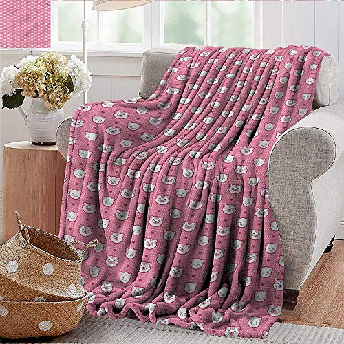 (Xaviera Doherty Throw Blankets Fleece Blanket Cat,Funny Kitten Faces Dots Microfiber All Season Blanket for Bed or Couch Multicolor)