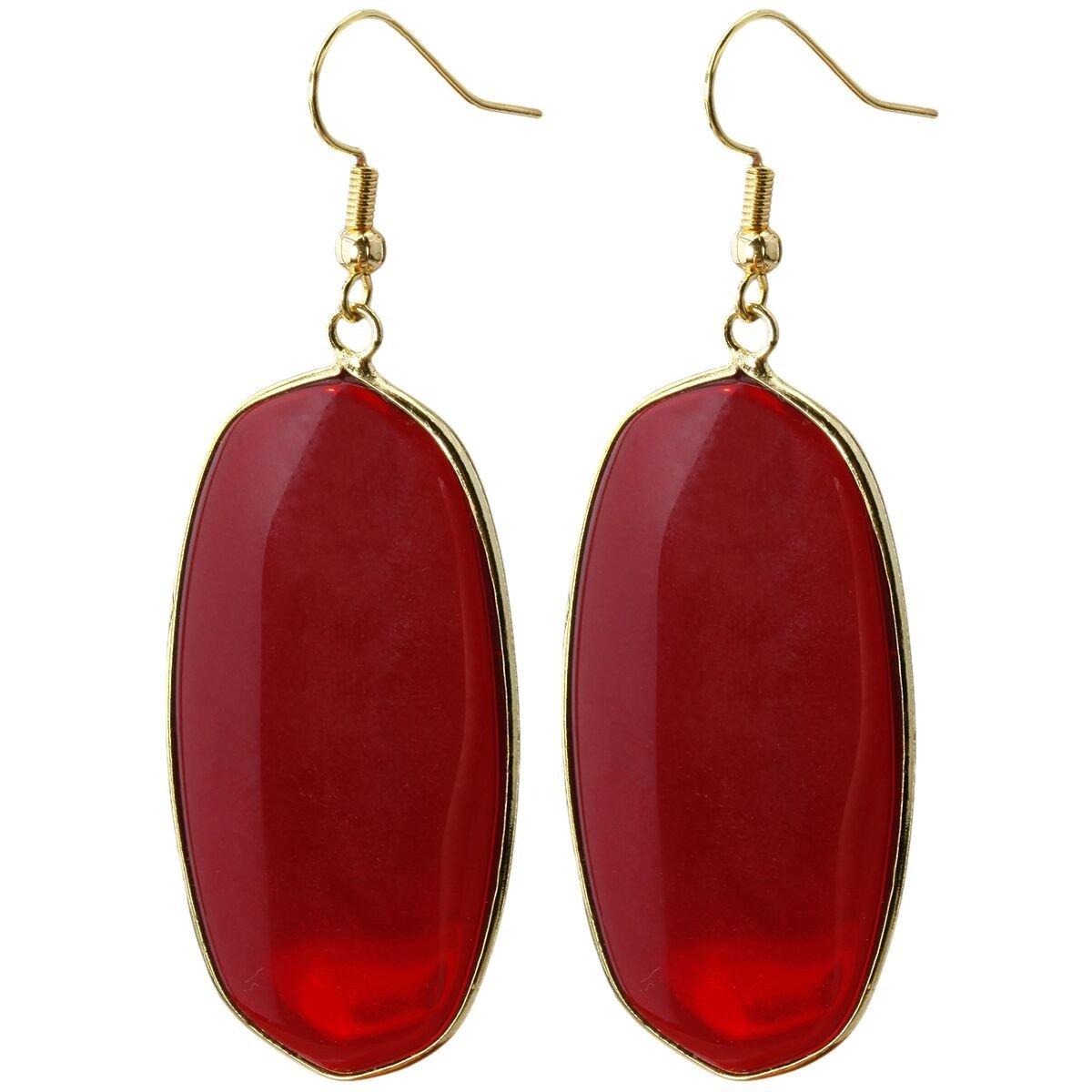 rockcloud Crystal Stone Dangle Hook Earrings Oval Gold Plated RCZ0002413
